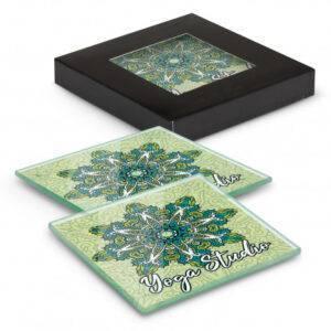 Venice Glass Coaster Set of 2 Square – Full Colour